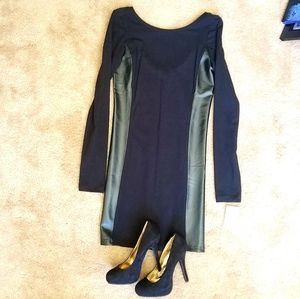 Black Bodycon Dress with Faux Leather Side Panels
